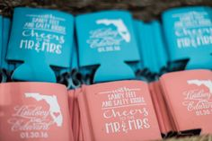 Coozie favors for a beach wedding, coral and turquoise