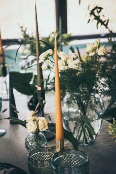 Table Tablescape Decor Greenery Foliage Black Tableware Candles Glasses Modern Wedding Ideas Cat Arwel Photography #WeddingTable #Tablescape #WeddingDecor #Greenery #Foliage #BlackWedding #Tableware #WeddingCandles #WeddingGlasses #Wedding