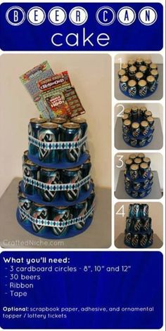 beer cake beer can cake. Perfect for father's day or birthdays Fete Pascal, Beer Can Cakes, Beer Cake Gift, Cake In A Can, Dad Day, Fathers Day Ideas For Husband, Man Birthday, 21st Birthday Ideas For Guys, Funny Birthday