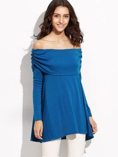 Blue Foldover Off The Shoulder Ruched T-shirt