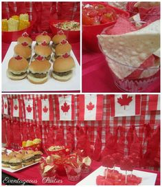 Katrina L's Canada Day / Red & White - Photo Gallery at Catch My Party Canada Day Party, Canada Day 150, Happy Canada Day, O Canada, White Party Foods, Canada Celebrations, Canada Day Crafts, Canadian Holidays, Party