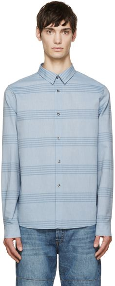 A.P.C.: Blue Striped Nautical Shirt | SSENSE