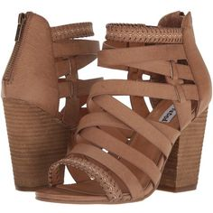 Not Rated Feelin Strappy (Tan) Women's Shoes ($40) ❤ liked on Polyvore featuring shoes, sandals, strappy shoes, chunky heel sandals, tan strappy sandals, tan shoes and caged shoes