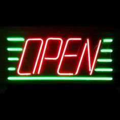 Slanted Neon Open Sign