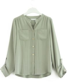 #SheInside #SheInside Light Green Long Sleeve Pockets Chiffon Blouse
