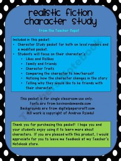 Realistic Fiction Character Study product from The-Teacher-Depot on TeachersNotebook.com