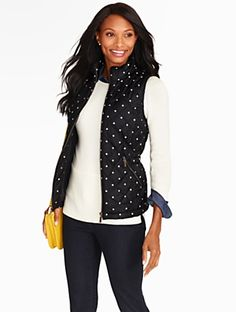 Talbots - Polka Dot Quilted Vest | | Misses Discover your new look at Talbots. Shop our Polka Dot Quilted Vest for stylish clothing and accessories with a modern twist at Talbots