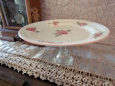 30% OFF Vintage China Upcycled Cake Plate / Cake Stand Gibson Roseland Pattern
