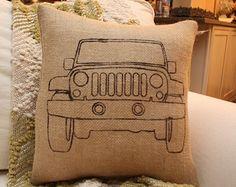 Burlap Jeep Pillow