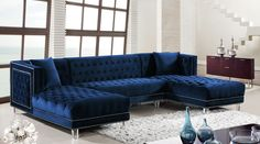 Decorate a Living Room with Blue Sectional Sofa — Barkbabybark Home Decor Blue Couch Living Room, Ottoman In Living Room, Living Room Sectional, Living Room Furniture, Living Rooms, Double Chaise Sectional, Blue Sectional, Blue Couches, Sectional Sofas