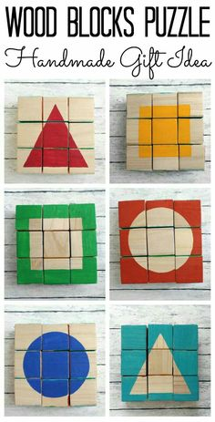 Wood Blocks Puzzle – handmade gift idea for any holiday! Perfect for toddlers and pre-schoolers! Wood Blocks Puzzle – handmade gift idea for any holiday!Make this wood blocks puzzle for a handmade gift idea that they will never forget. Kids Crafts, Diy Crafts To Sell, Craft Projects, Vinyl Projects, Sell Diy, Homemade Toys, Homemade Gifts, Diy Gifts, Wood Gifts