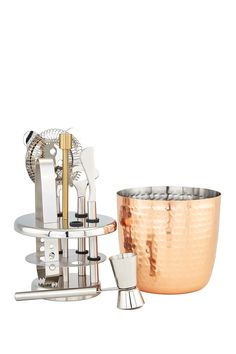 ODI HOUSEWARES 7-Piece Aura Hammered Copper Bar Tools Set