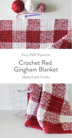 Etsy PDF Pattern - Crochet Red Gingham Blanket