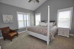 First of THREE Master Bedrooms!  Sleep in style!  Yardsale bed turned fabulous with a little paint.  #oceanislebeach #anyportinastorm #vacation #anniesloan #chalkpaint