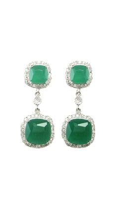 Sterling Silver Green Agate Earrings...for wedding?
