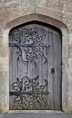 South Door, St.Mary's Church, Meare, Somerset. These doors are supported by some of the finest medieval door hinges in the country dating from 1323.