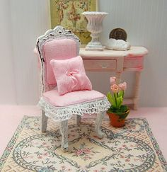 Dollhouse Chair Shabby Distressed White Wood by Memoriesnminiature $19.99