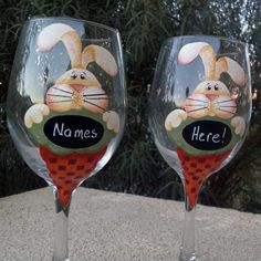 HAPPY EASTER perfect set of 2 wine glasses you can by BiancasGifts, $38.95