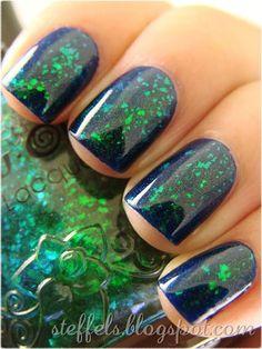 Glitter green nail art, fingernails, funky manicures. #Nails