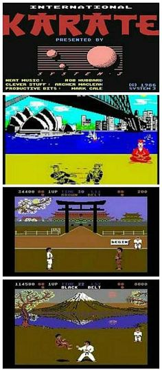 Screen grabs from International Karate including the title screen, ZX Spectrum Sydney Harbour backdrop, C64 Forbidden City in Bejing and C64 Mount Fuji on Honshu Island backdrop.