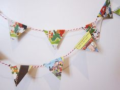 use dick and jane book--Paper bunting!