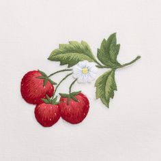 Strawberries<br>Hand Towel - White Cotton