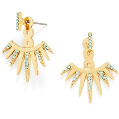 BaubleBar Jumbo Cairo Ear Jackets ($18) ❤ liked on Polyvore featuring jewelry, earrings, pave stud earrings, long earrings, crystal jewelry, baublebar jewelry and crystal pave earrings