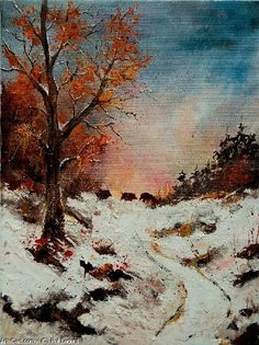 Artwork >> Pol Ledent >> Sangliers au soleil couchant #artwork, #masterpiece, #painting, #contemporary, #art, #nature, #winter