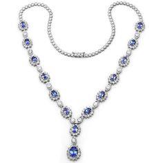 Tanzanite & Diamond Necklace 18k White Gold - Anniversary Gifts - Raven Fine Jewelers - Michael Raven, Bevelry Hills, Luxury Jewelry, Tanzanite Necklaces - Red Carpet Jewelry Statement Necklace