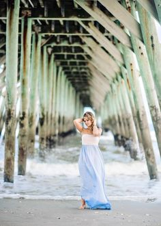 Senior Picture Ideas for Girls at the beach. Blue and White Dress. Pier, Blue water, Ocean, Gorgeous hair