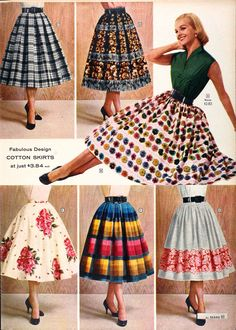 Sears Catalog, Spring/Summer 1958 - Women's Dresses - I absolutely adore this style skirt! Some of these color and pattern combos are a bit wild for today but I love the blue gingham on the top left. <3