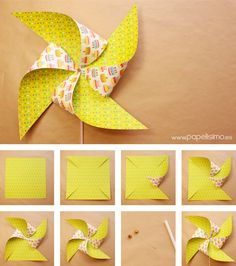 #Molinillo de #papel hecho con papel #scrapbook de #DIY.  #Paper #Pinwheels