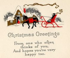 Colorful Vintage ART DECO CHRISTMAS GREETING CARD nr.2