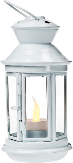 White Hurricane Candle Lantern (round design)