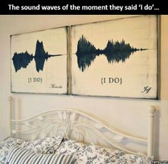 Your voice sound waves when you say i do displayed above the bed