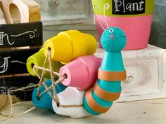 Create a Garden Party with Clay Pot Critters & Handmade Charlotte Stencils!  Also love this snail!