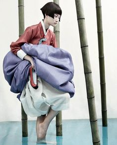 Korean traditional wear: hanbok // Kyung Soo Kim The Full Moon Story, Vogue Korea 2007