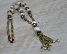 Collana con vecchie perle naturali dacqua dolce 10 -11 mm, cristalli fumè di…