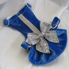 Small Dog Harness Dress - Blue Velvet Bow Dress the ULTIMATE