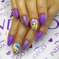 by Agata Kaczmarek Indigo Young Team :) Follow us on Pinterest. Find more inspiration at www.indigo-nails.com #nailart #nails #indigo #daisy #violet #donald #duck