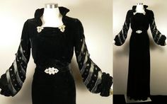 Vintage 1930s Deco Dress Gown Black Silk Bias Velvet Rhinestone Clips Belt M L