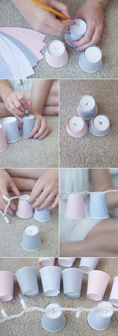 Easy, fun dixie cup light garland