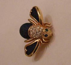 Joan Rivers Gold Tone Rhinestone Blue Denim Bee Pin