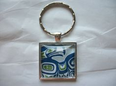 Seattle Seahawks Domed Glass Keychain NFL Football by BadCatCraft