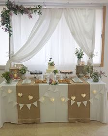 Mesa dulce Rústica y Romántica Baptism Party Decorations, First Communion Decorations, First Communion Party, Table Decorations, Wedding Table, Diy Wedding, Rustic Wedding, Wedding Dress, 50th Wedding Anniversary