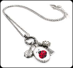 Ladybug Necklace, Silver Ladybug Jewelry, Lady Bug Charms - Blackberry Designs Jewelry