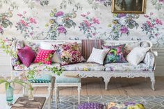 Maximalist floral spring sofa and wallpaper