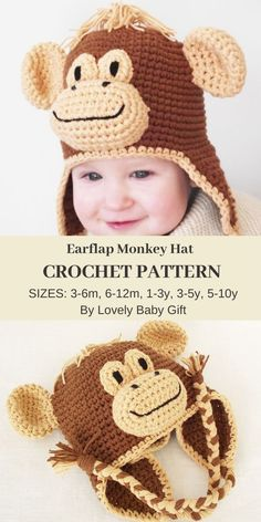 Crochet Pattern to make Monkey earflap hat. This detailed and illustrated crochet pattern will take through every step to make a gorgeous animal hat for babies and kids. Sizes: Crochet pattern is written in English using US crochet terminology. Crochet Animal Hats, Crochet Kids Hats, Knitting For Kids, Baby Girl Patterns, Baby Knitting Patterns, Hat Patterns, Unique Crochet, Cute Crochet, Amigurumi