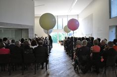View of the aisle for wedding ceremony in the Glucksman Gallery. Wedding Ceremony, Events, Gallery, Home Decor, Decoration Home, Roof Rack, Room Decor, Home Interior Design, Home Decoration