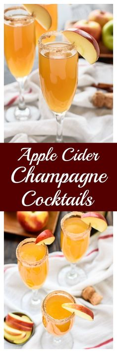 The best cocktail for New Year's Eve! Only 3 ingredients, elegant, and delicious, these easy Apple Cider Champagne Cocktails are sure to become your signature drink!